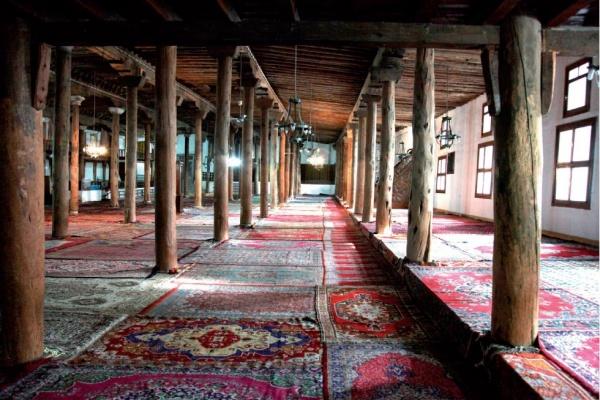 17-18th century Anatolian village prayer rug with a ...