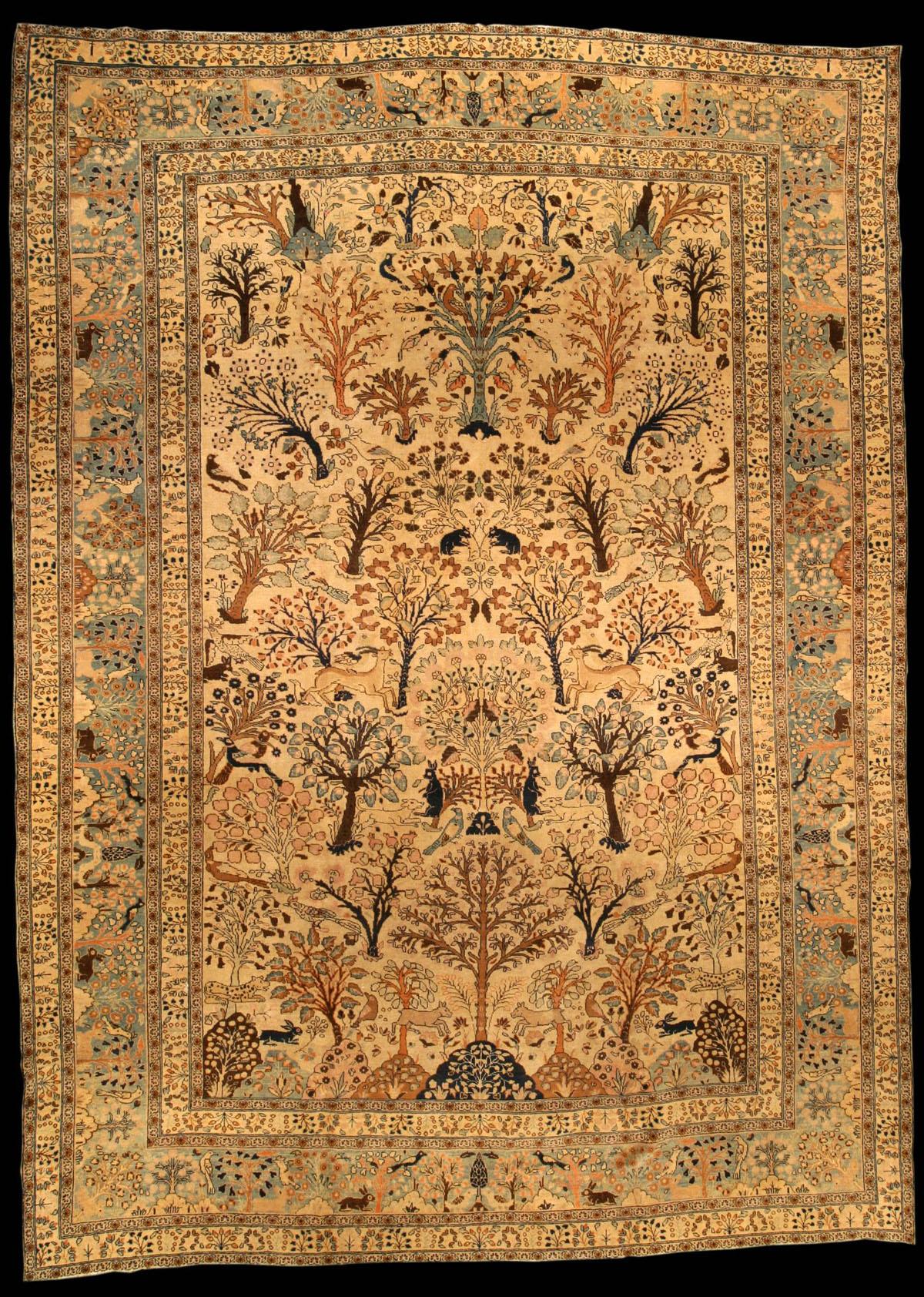 Persian Tabriz Garden Carpet The Caramel Field With A