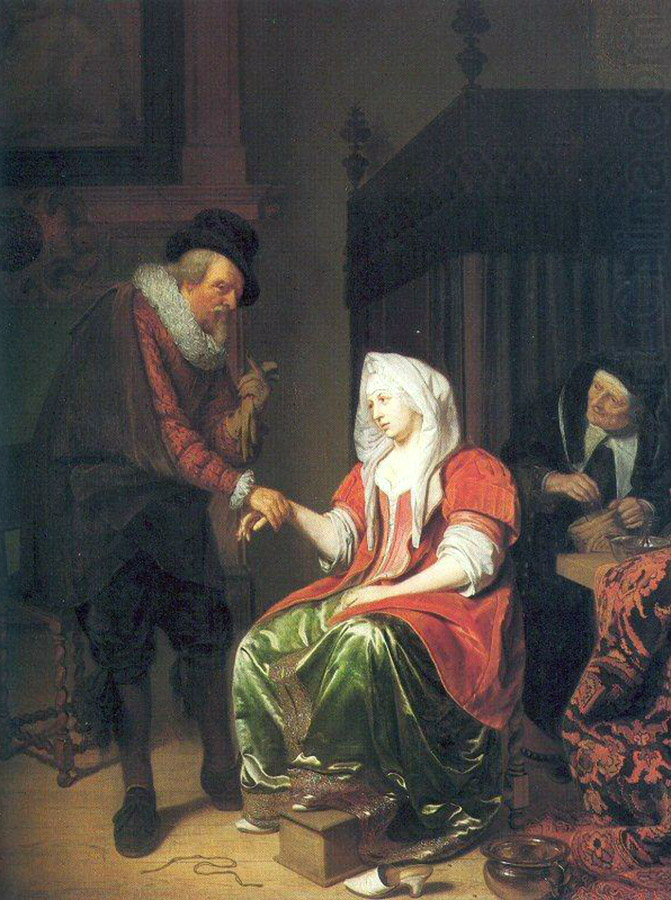 Doctor Taking a young woman's pulse, c 1670-1680 by Michiel van Musscher